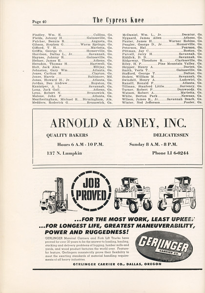 The Cypress Knee, 1955, Student Roster (continued), Arnold and Abney Inc., Gerlinger Carrier Co., pg. 40