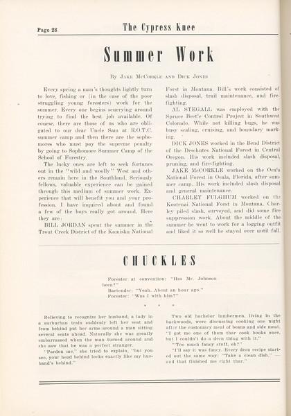 "The Cypress Knee, 1955, Summer Work, Jack McCorkle and Dick Jones, ""Chuckles"", pg. 28"