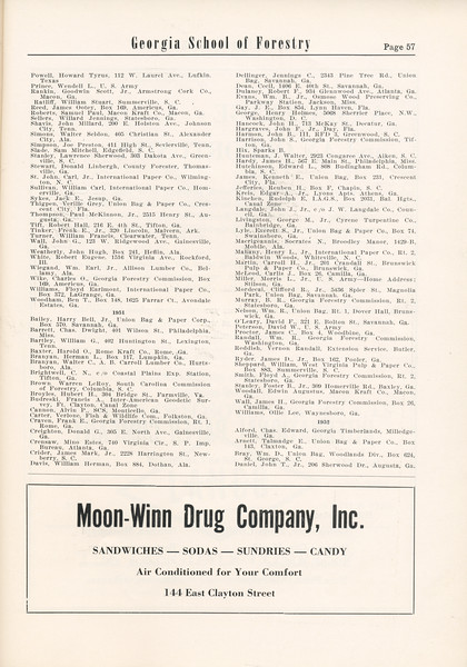 The Cypress Knee, 1955, Alumni Directory (continued), Moon-Winn Drug Company Inc., pg. 57