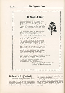 """The Cypress Knee, 1955, """"De Woods of Pines"""", Warren Nicke, """"The Forest Service..."""" (continued), pg. 38"""