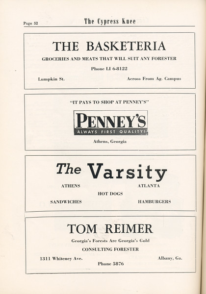 The Cypress Knee, 1955, The Basketeria, Penney's, The Varsity, Tom Reimer, pg. 52