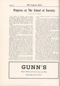 "The Cypress Knee, 1955, ""Progress at the School of Forestry"", Dean D. J. Weddell, Gunn's, pg. 30"