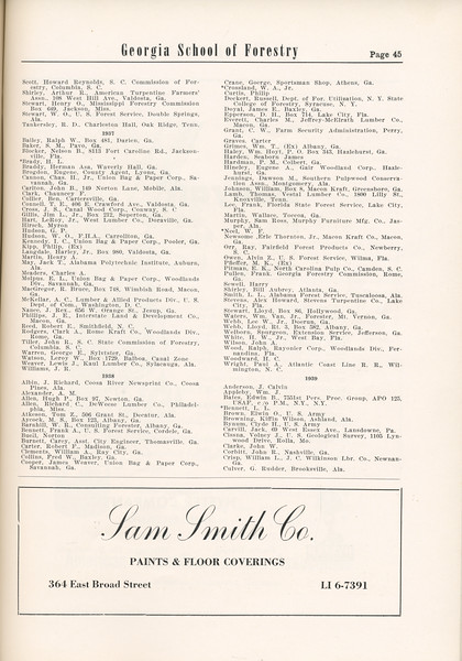 The Cypress Knee, 1955, Alumni Directory (continued), Sam Smith Co., pg. 45