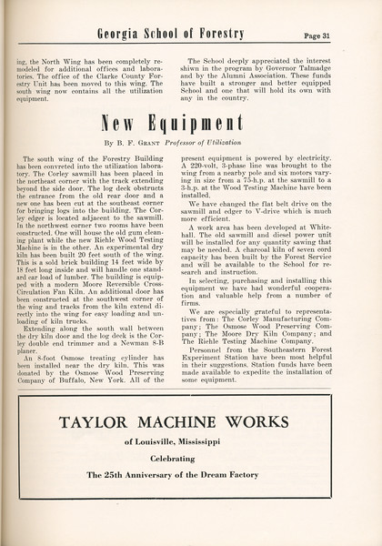 "The Cypress Knee, 1955, ""New Equipment"", B. F. Grant, Taylore Machine Works, pg. 31"