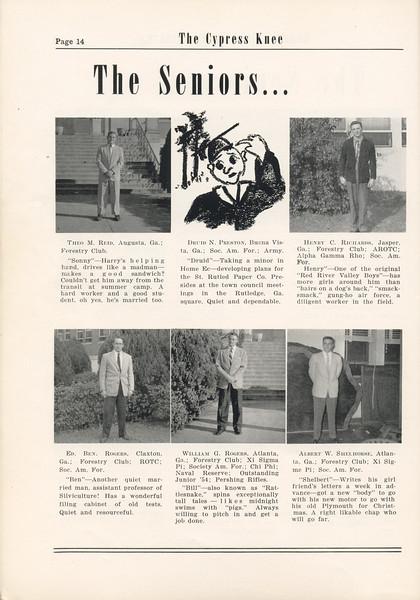The Cypress Knee, 1955, Seniors, Theo M Reid, D. N. Preston, Henry C. Richards, E. B. ROgers, William G. Rogers, Albert W. Shelhorse, pg. 14