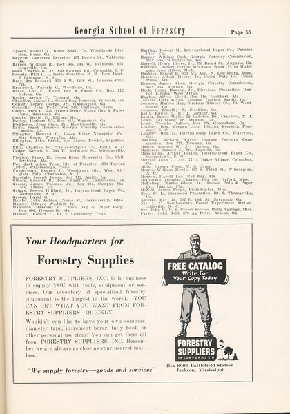 The Cypress Knee, 1955, Alumni Directory (continued), Forestry Suppliers Inc., pg. 55