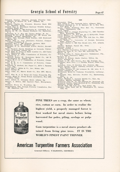 The Cypress Knee, 1955, Alumni Directory (continued), American Turpentine Farmers Association, pg. 47