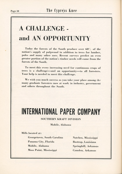 The Cypress Knee, 1955, International Paper Company, pg. 58