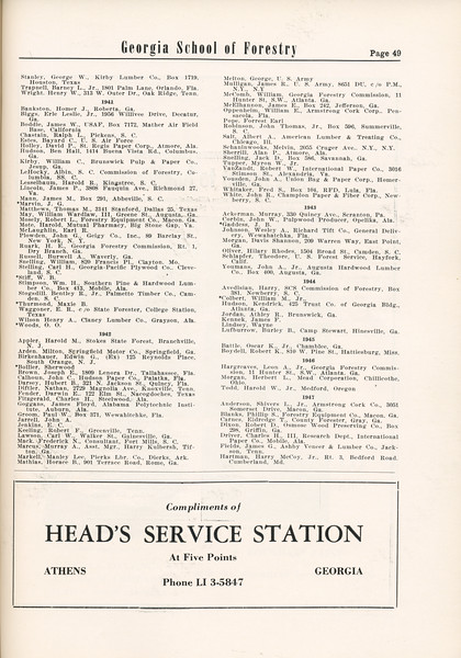 The Cypress Knee, 1955, Alumni Directory (continued), Head's Service Station, pg. 49