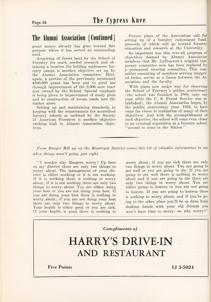 """The Cypress Knee, 1955, """"The Alumni Association"""" (continued), Harry's Drive-in and Restaurant, pg. 34"""
