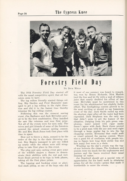 The Cypress Knee, 1955, Forestry Field Day, Dick Mills, pg. 24