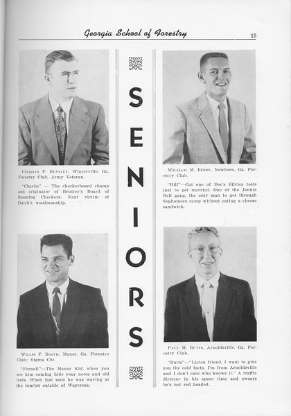 The Cypress Knee, 1956, Seniors, Charles F. Bentley, William M. Berry, Wiliam F. Born, Paul M. Butts, pg. 15