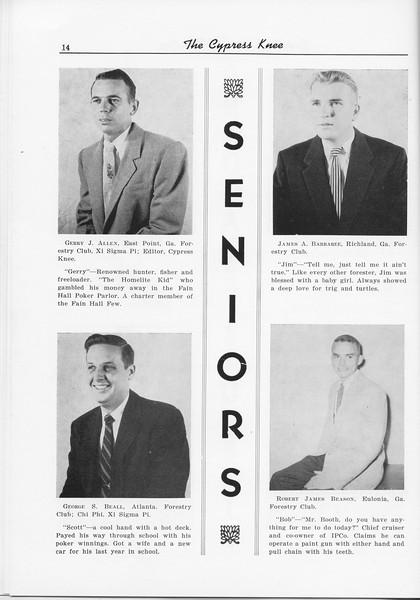 The Cypress Knee, 1956, Seniors, Gerry J. Allen, James A. Barbahee, George S. Beall, Robert James Beason, pg. 14