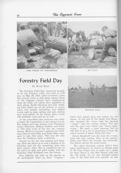 "The Cypress Knee, 1956, ""Forestry Field Day"", Hugh Riley, pg. 30"