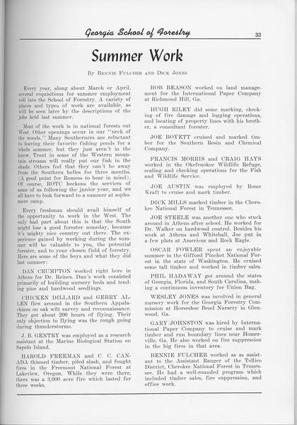 The Cypress Knee, 1956, Summer Work, Bennie Fulchur and Dick Jones, pg. 33
