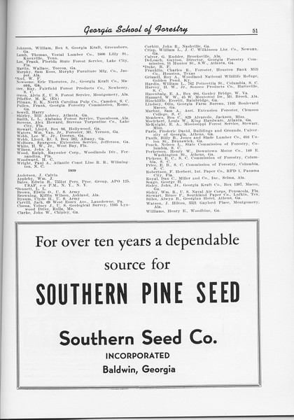 The Cypress Knee, 1956, Alumni Directory (continued), Southern Seed Co., pg. 51