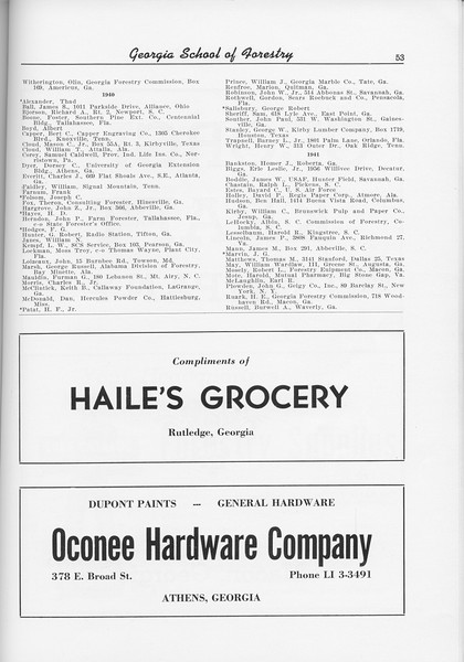 The Cypress Knee, 1956, Alumni Directory (continued), Haile's Grocery, Oconee Hardware Company, pg. 23