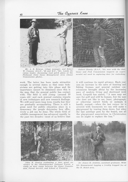 "The Cypress Knee, 1956, ""Where are we HEaded in Wildlife Management?"", James H. Jenkins, pg. 42"