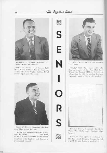 The Cypress Knee, 1956, Seniors, Clarence L. Harley, James C. Hays, Grady W. Henry, Herman Henry, pg. 18