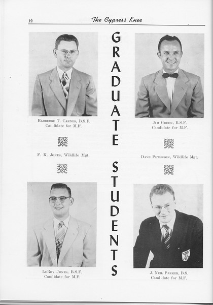 The Cypress Knee, 1956, Graduate Students, Eldredge T. Carnes, Jim Green, LeRoy Jones, J. Neil Parker, pg. 12
