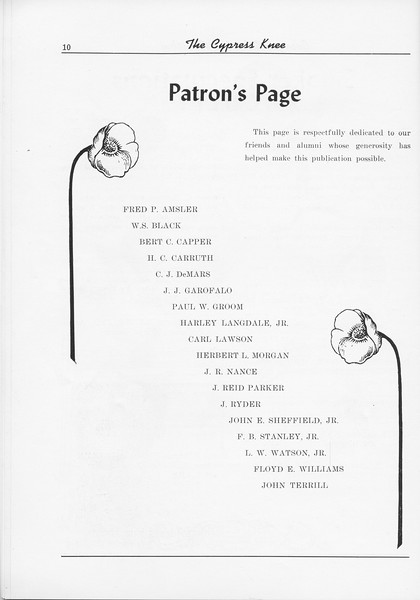 The Cypress Knee, 1956, Patron's Page, pg. 10