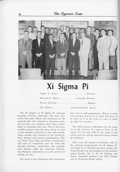 The Cypress Knee, 1956, Xi Sigma Pi, pg. 28