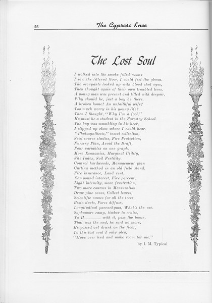 "The Cypress Knee, 1956, ""The Lost Soul"", I. M. Typical, pg. 26"