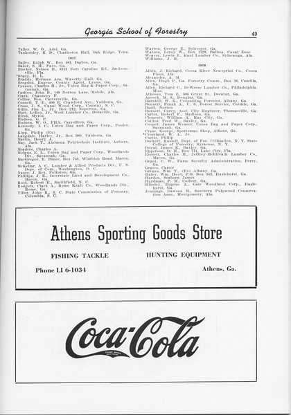 The Cypress Knee, 1956, Alumni Directory (continued), Athens Sporting Goods Store, Coca-cola, pg. 49