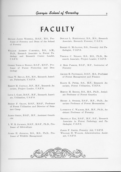 The Cypress Knee, 1956, Faculty Listing, pg. 9