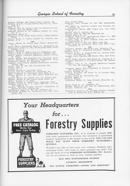 The Cypress Knee, 1956, Alumni Directory (continued), Goretry Suppliers Inc., pg. 55