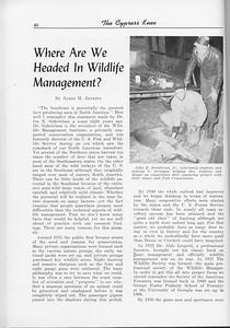 """The Cypress Knee, 1956, """"Where are we HEaded in Wildlife Management?"""", James H. Jenkins, pg. 40"""