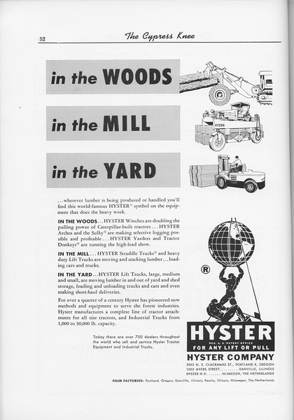 The Cypress Knee, 1956, Hyster Company, pg. 52