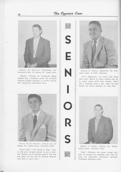 The Cypress Knee, 1956, Seniors, Shelly E> Shuman, Joseph L Steele, Benee Grank Swindel, Robert J. Terry, pg. 22