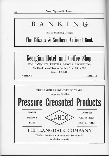 The Cypress Knee, 1956, The Citizens and Southern National Bank, Georgian Hotel and Coffee Shop, The Langdale Company, pg. 50