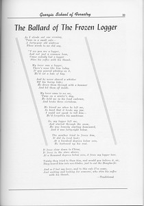 "The Cypress Knee, 1956, ""The Ballard of the Frozen Logger"", pg. 39"