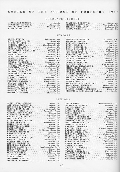 The Cypress Knee, 1957, Roster of Forestry Students, pg. 42