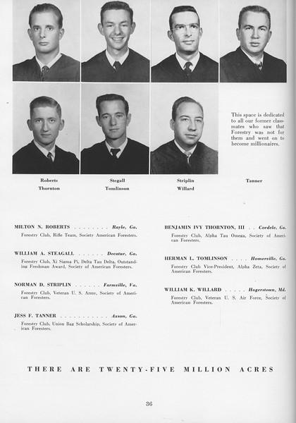 The Cypress Knee, 1957, Seniors, Milton N. Roberts, William A. STeagall, Norman D. Siplin, Jess F. Tanner, Benjamin Ivy Thornton, Herman L. Tomlinson, William K. Willard, pg. 36
