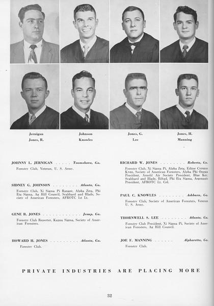 The Cypress Knee, 1957, Seniors, Johnny L. Jernigan, Sidney G. Johnson, Gene R. Jones, Howard H. Jones, Richard W. Jones, Paul C. Knowles, Thornwell S. Lee, Joe F. Manning, pg. 32