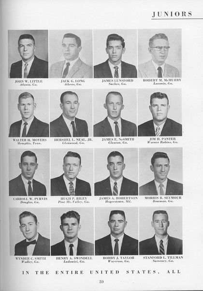 The Cypress Knee, 1957, Junior Class, John W. Little, Jack G. Long, James Lunsford, Robert M. McMurry, Walter H. Moyers, Hershell Neal Jr., James E. NeSmith, Jim H. Panter, Carroll W. Purvis, Hugh P. Riley, James A. Robertson, Morris B. Seymour, Wynder C. Smith, Henry A. Swindell, Bobby J. Taylor, Stanford L. Tillman, pg. 39