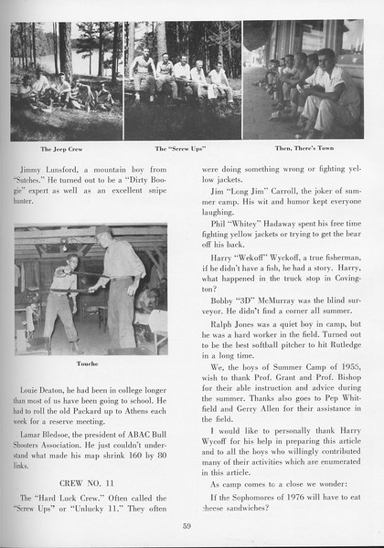 """The Cypress Knee, 1957, """"Sophomore Camp- Budding Foresters Take Root"""", pg. 59"""