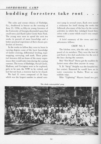 """The Cypress Knee, 1957, """"Sophomore Camp- Budding Foresters Take Root"""", pg. 54"""