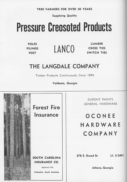 The Cypress Knee, 1957, The Langdale Company, South Carolina Incurance Co., Oconee Hardware Company, pg. 60