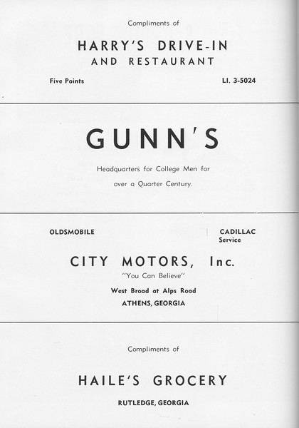 The Cypress Knee, 1957, Harry's Drive-In and Restaurant, Gunn's, City Motors Inc., Haile's Grocery, pg. 64