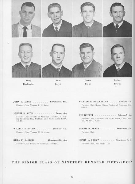 The Cypress Knee, 1957, Seniors, John D. Alsup, Joseph S. Astin, William S. Bacon, Billy P. Barber, William H. Blackledge, Joe Boyett, Bennie B. Brant, Henry G. Brown, pg. 26