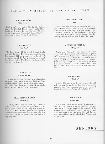The Cypress Knee, 1957, Seniors, About the Seniors, pg. 27