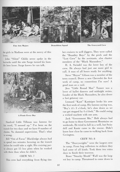 """The Cypress Knee, 1957, """"Sophomore Camp- Budding Foresters Take Root"""", pg. 57"""