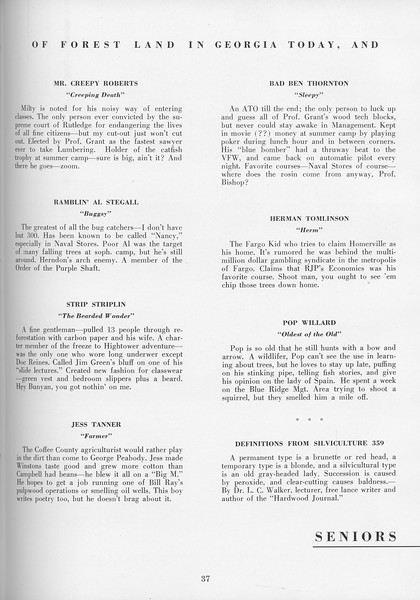 The Cypress Knee, 1957, Seniors, About the Seniors, pg. 37