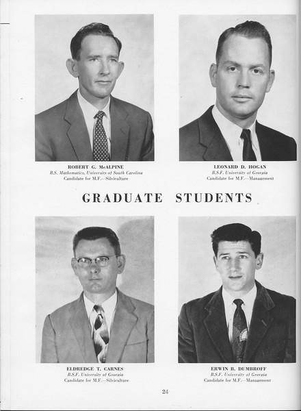 The Cypress Knee, 1957, Graduate Students, Robert G. McAlpine, Leonard D. Hogan, Eldredge T. Carnes. Erwin B. Dumbroff, pg. 24