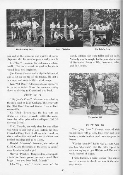 """The Cypress Knee, 1957, """"Sophomore Camp- Budding Foresters Take Root"""", pg. 58"""