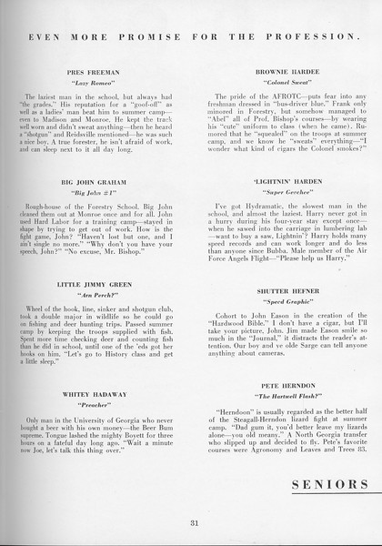 The Cypress Knee, 1957, Seniors, About the Seniors, pg. 31